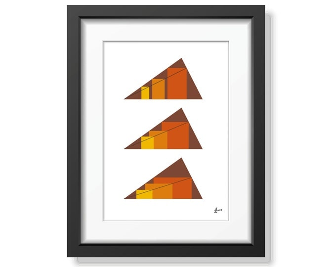 Rectangles in Triangles 02 [mathematical abstract art print, unframed] A4/A3 sizes