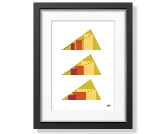Rectangles in Triangles 07 [mathematical abstract art print, unframed] A4/A3 sizes