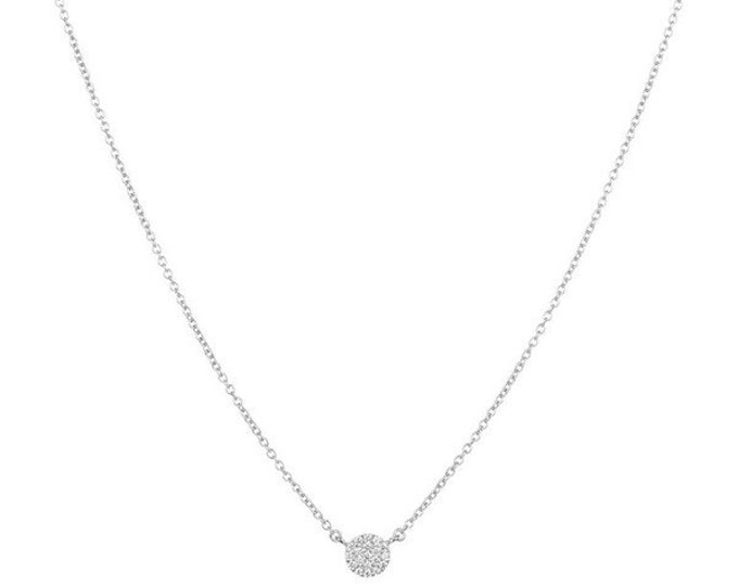 Pave Necklace CZ Necklace Cubic Zirconia Disc Necklace Gold Necklace Silver Necklace Gold Pave Delicate Necklace Diamond Necklace