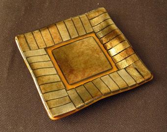 Metallic Gold Fused Glass Dish Set in Transparent Amber