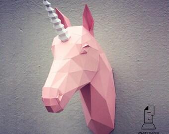 Papercraft unicorn head - printable DIY template