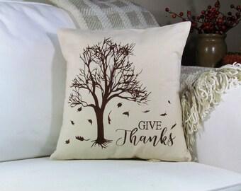 Fall Pillow, Give Thanks, Thankful, Throw Pillow, Accent Pillow, Fall Harvest Decor, Thanksgiving Decor, Fall Decor