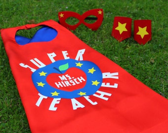 Teacher Gift - Adult Superhero Cape - teacher appreciation week, super teacher cape with mask and wristbands, adult cape, red and blue satin
