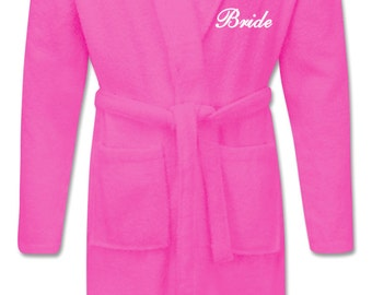 PERSONALISED Embroidered Bathrobes Dressing Gowns Bridal Party for Bride Bridesmaid Mothers Day Mom Mum Grandma Wedding Gift Idea