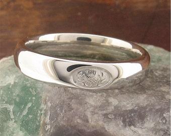 Scottish Thistle silver 4mm ring ETTHSIL4mm