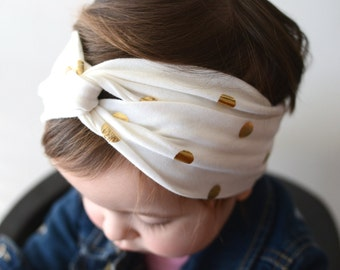 Gold Polka Dot Turban Headband, Baby Headwrap,Twist Headband, Gold Headwrap, Adult Turban, Adult Headband, Turban
