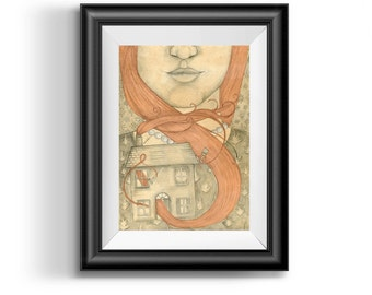Art illustration Print - Girl with Red Hair- surreal art, pencil drawing, girl illustration, girl print, red hair drawing, wall art