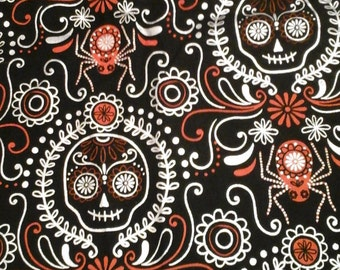 SALE.....Halloween Skull Fabric Black, Orange and Silver 1 yard cotton