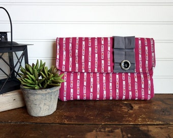 SALE - Raspberry Pink and Gray Clutch Bag with Gray Fabric Ruffle Trim and Gray Button, Pink Clutch
