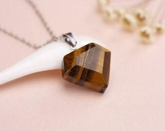Gemstone jewelry, Gemstone necklace, heart necklace, Gemstone heart necklace, Tiger eye Necklace, Tiger eye heart, Tiger eye pendant