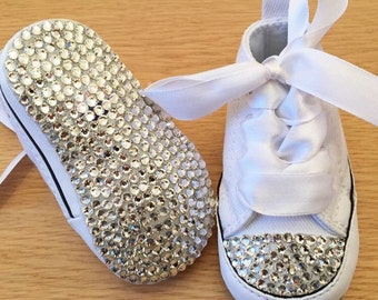 White baby crib converse with Swarovski Crystal Toes and ribbon laces and crystal soles wedding baby shower new baby