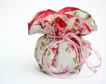 White drawstring Pouch, Cath Kidston, Jewelry Pouch, white Pouch, white drawstring Pouch, floral bag, Small bag, Drawstring Bag, Blue bag