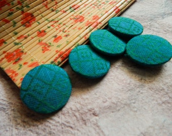 Set of 5 Fabric Buttons, 20mm buttons, Floral Fabric Buttons, Decorative Buttons, Fabric Covered Buttons, Teal Blue Buttons