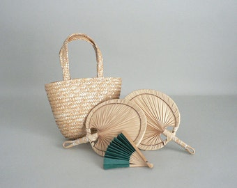 Toy Doll Hand Fan and Straw Purse Assortment