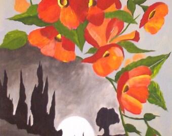 """Original peinture acrylique paysage, lune et fleurs Orange, fleurs Art 9 x 12"""" par Michael Hutton"""