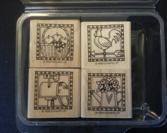 """1999 Stampin' Up! Country Livin' Set of Stamps 1-1/2"""" x 1-3/4"""""""