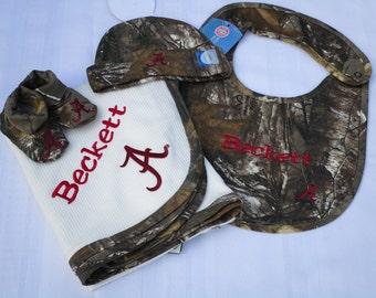 Alabama Baby Blanket Camo Baby Blanket,Bib,Hat,Shoes, Real Tree Camo Baby Blanket, Personalized Alabama Baby Blanket, Auburn Baby Blanket
