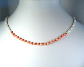 """Freshwater Pearl and Coral Necklace Gold 18"""""""