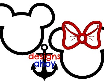 mr and mrs mickey and minnie mouse heads applique design bonus pack sale bow ears 4x4 5x7 6x10 8x12 embroidery, personalization
