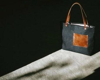Denim Tote bag T103/ Black/ leather handles / shopper bag