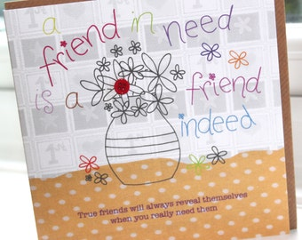 """Personalised Handmade Greeting Card """"A Friend In Need"""" by Charlotte Elisabeth PP11"""