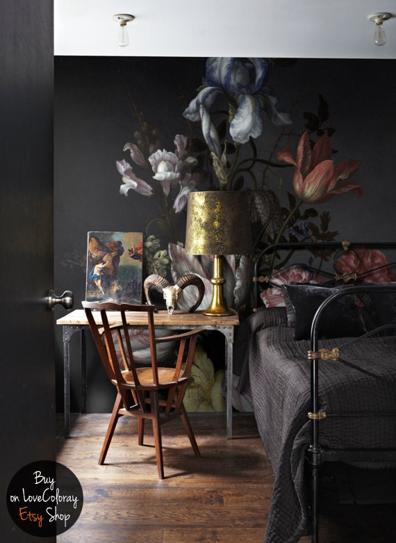 Dutch Dark Vintage Floral Removable Wallpaper Wall By