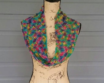 Rainbow Sparkle Lightweight Crochet Infinity Scarf
