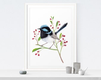 Bird Art Printable Painting | Blue Wren Print - Instant Download. Bird Decor, Bird Artwork, Bird Art, Nature, Rustic Modern Home Decor