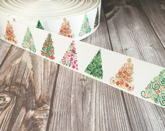 "Christmas tree ribbon - 1"" grosgrain ribbon - Beautiful tree - O Christmas Tree - Holiday ribbon - DIY Christmas bow - Hair bow ribbon"