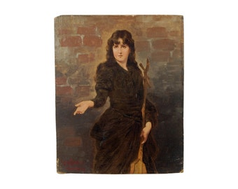 Austrian Oil Painting Lady Musician w String Instrument Long Neck Lute Signed
