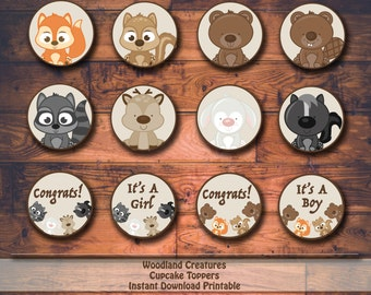 Woodland Creatures Baby Shower Printable Cupcake Toppers