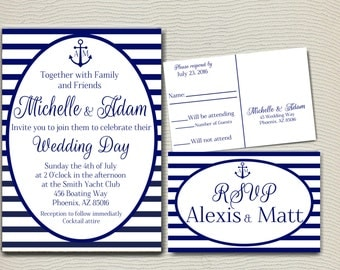 Nautical Wedding Invitation, Stripped Invitation, Beach Invitation, Yacht Club Invitation, Nautical Invitation, Wedding Invitation, Stripped