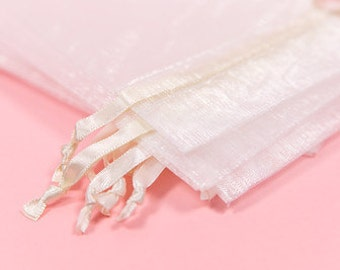 100 White Organza Bags   4x6 inch Sheer Bags   Sheer Fabric Bags   Jewelry Pouches    Favor Bags