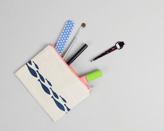 Hand printed Pencil Case/ Make Up/ Cosmetic Bag Blue Fish