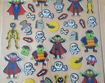 Halloween Frankenstein Monster and Vampire Planner Sticker Sheet