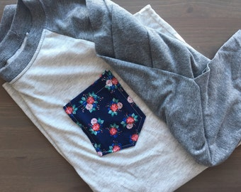 Baseball Tee with Navy Floral pocket, Women's 3/4 shirt