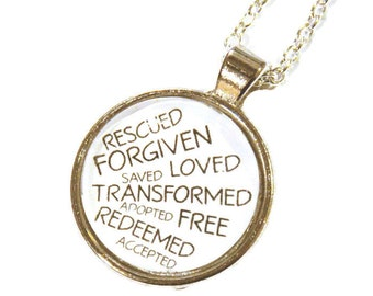Identity Necklace - Identity in Christ - Christian Jewelry - Christian Gift - Pendant - Adopted - Loved - Forgiven - Free - Redeemed