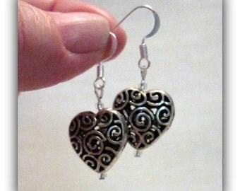 Silver Valentine Earrings, Filigree Heart Earrings