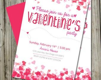 Druckbare Valentinstag Party Einladung, Valentinstag Karte Druckbar,  Valentinstag Einladung Gemacht Liebe