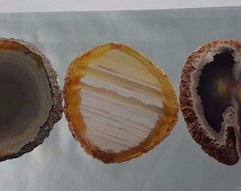 Natural Brazil Agate Slices Geode Polished Slab Quartz Lot (5) - N13
