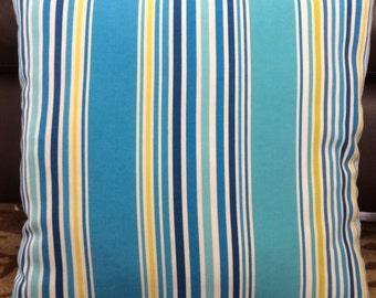 Turquoise Azure Blue Yellow Indoor Outdoor Zippered Throw Pillow Cushion Cover Striped Decor P. Kaufmann Coastal Pillows Accent Pillow