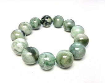Handmade green Jade bracelet, large jade bracelet, large bead bracelet, 17.5mm jade bead bracelet