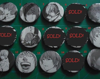 5 Death Note DN manga Badges Pins Buttons