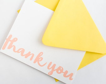 Thank You Notes - Set of 10 // Modern Calligraphy Thank You Note Card Set // Simple Thank You Notes // Social Stationery // Folded Thank You