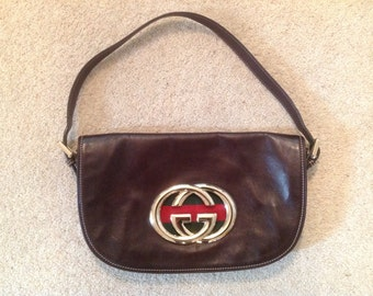 Vintage Gucci Chocolate Brown Leather Flap Hand Bag