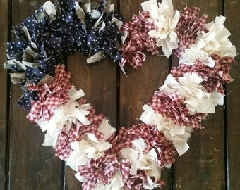 American Flag Wreath, Heart Wreath,Fabric Wreath,Patriotic Wreath, American Flag,
