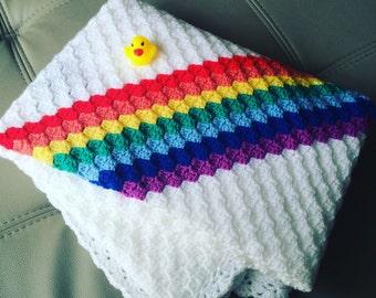 Rainbow stripes baby blanket