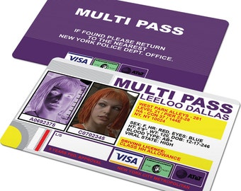 Custom ID Card Badge: Fifth Element Multi Pass, Leeloo Dallas, Korben Dallas, Zorg, Sci-fi Cosplay Costume Gift, 5th