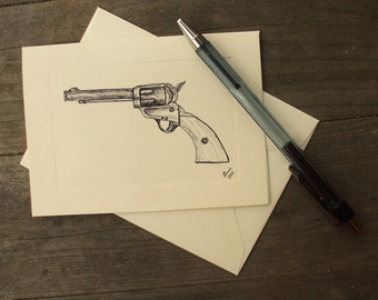 """Note Card """"The Six Shooter"""" Western Cowboy Stationary"""