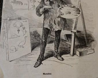 French Cartoon Print/ Moralite/Artist/Satire/Revue Comique du Salon de Peinture, de sculpture, d'architecture, etc./Ephemera/Frameable